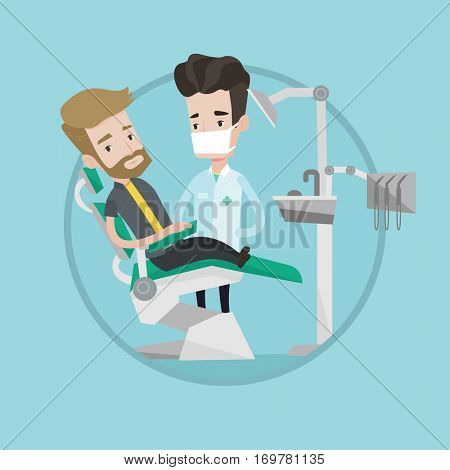 Hipster man with the beard sitting in dental chair. Doctor and patient in the dental clinic. Patient on reception at the dentist. Vector flat design illustration in the circle isolated on background.