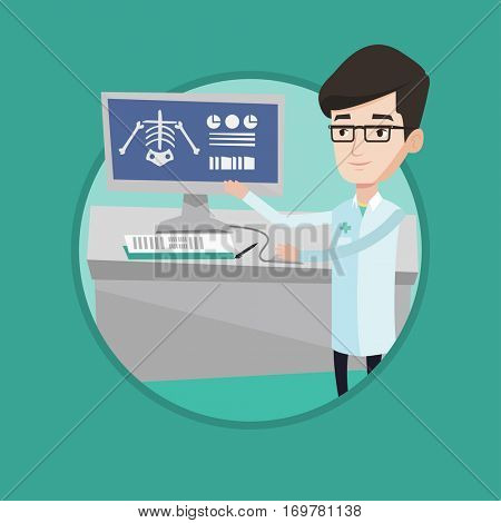 Doctor examining a radiograph. Doctor looking at a chest radiograph on computer screen. Doctor observing a skeleton radiograph. Vector flat design illustration in the circle isolated on background.