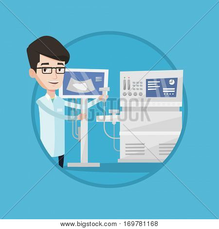 Doctor with ultrasound scanner in hand. Operator of ultrasound scanning machine. Doctor working on modern ultrasound equipment. Vector flat design illustration in the circle isolated on background.