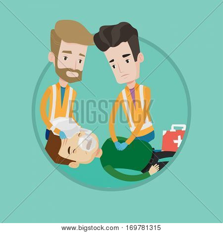 Emergency doctors during process of resuscitation of man. Caucasian emergency doctors doing cardiopulmonary resuscitation of a man. Vector flat design illustration in the circle isolated on background