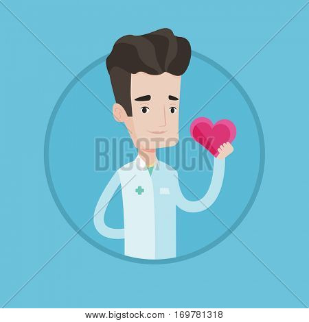 Cardiologist in doctor uniform with heart in hand. Doctor cardiologist holding heart. Concept of prevention of heart problems. Vector flat design illustration in the circle isolated on background.