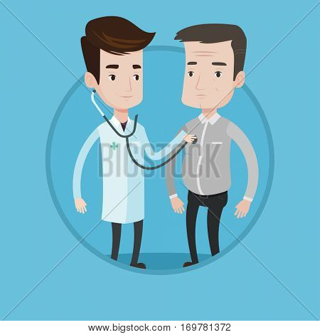 Doctor listening to chest of patient with stethoscope. Patient visiting doctor for chest examination. Doctor examining chest of man. Vector flat design illustration in circle isolated on background.
