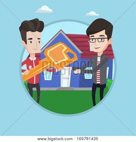 Real estate agent giving key to a new owner of a house. Real estate agent passing house keys to client. Man buying a new house. Vector flat design illustration in the circle isolated on background.