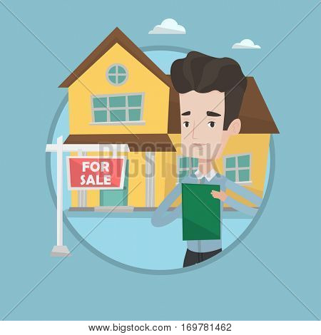 Real estate agent signing home purchase contract in front of for sale sign and house. Caucasian real estate agent selling a house. Vector flat design illustration in the circle isolated on background.