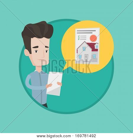Young caucasian man looking at photo of a house on a digital tablet. Man seeking for appropriate house on a tablet computer. Vector flat design illustration in the circle isolated on background.