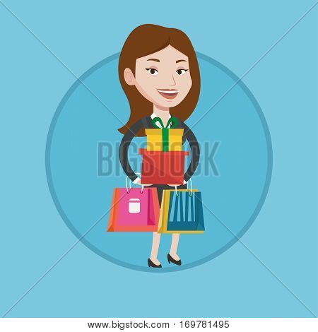 Woman holding shopping bags and gift boxes. Woman carrying shopping bags and boxes. Girl standing with a lot of shopping bags. Vector flat design illustration in the circle isolated on background.