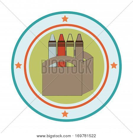 silhouette color with crayons set in circular frame vector illustration
