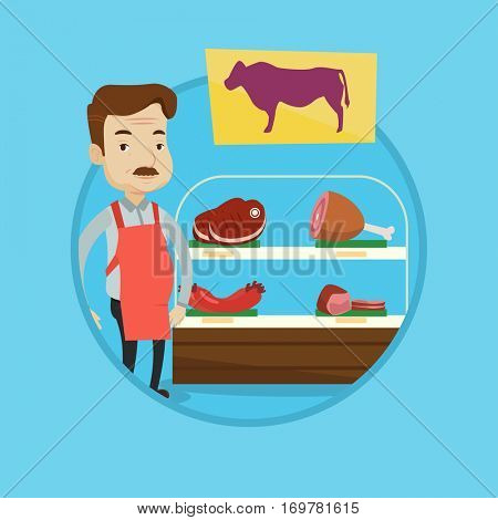 Butcher offering meat at display in butchery. Butcher at work at the counter in butchery. Caucasian man proud of his butcher shop. Vector flat design illustration in the circle isolated on background.