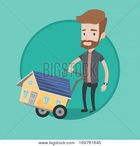 Hipster man pushing shopping trolley with house. Young caucasian man buying home. Man using shopping trolley to transport house. Vector flat design illustration in the circle isolated on background.