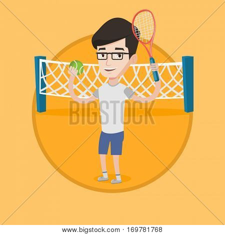 Smiling male tennis player holding a racket. Tennis player holding a ball. Young caucasian cheerful sportsman playing tennis. Vector flat design illustration in the circle isolated on background.