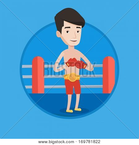 Young confident sportsman in boxing gloves. Professional male boxer standing in the boxing ring. Man wearing red boxing gloves. Vector flat design illustration in the circle isolated on background.