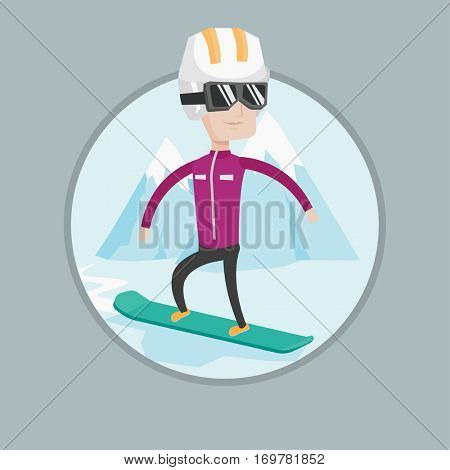 Caucasian man snowboarding on the background of mountain. Snowboarder on piste in mountains. Man snowboarding in the mountains. Vector flat design illustration in the circle isolated on background.
