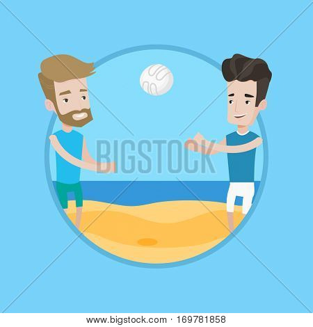 Man playing beach volleyball with his friend. Two caucasian men having fun while playing beach volleyball during summer holiday. Vector flat design illustration in the circle isolated on background.