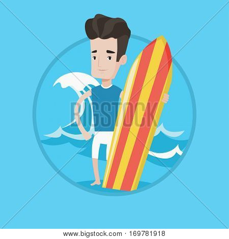 Young man standing with a surfboard on the beach. Surfer with a surf board at the beach. Surfer standing on the background of wave. Vector flat design illustration in the circle isolated on background