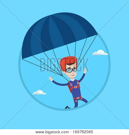 Caucasian man flying with a parachute. Happy man paragliding on a parachute. Professional parachutist descending with a parachute. Vector flat design illustration in the circle isolated on background.