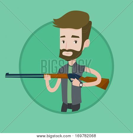 Caucasian man shooting skeet with shotgun. Young hunter ready to hunt with hunting rifle. Hipster hunter aiming with a hunter gun. Vector flat design illustration in the circle isolated on background.