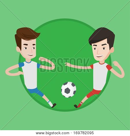 Football players in action during a champions league match. Two male soccer players fighting over control of ball at stadium. Vector flat design illustration in the circle isolated on background.