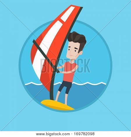 Caucasian windsurfer windsurfing on board with sail. Windsurfer standing on board with sail for surfing. Man learning to windsurf. Vector flat design illustration in the circle isolated on background.