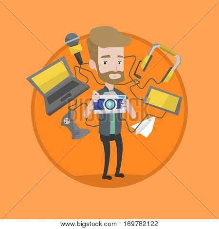Man taking photo with digital camera. Man surrounded with gadgets. Man using many electronic gadgets. Guy addicted to gadgets. Vector flat design illustration in the circle isolated on background.