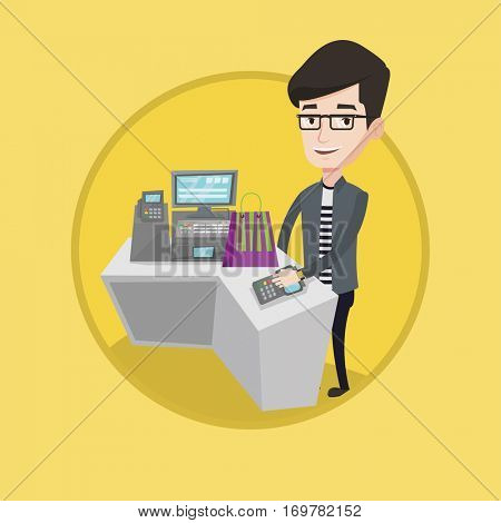 Young man paying wireless with his smart watch at the checkout counter. Male customer making payment for purchase with smart watch. Vector flat design illustration in the circle isolated on background