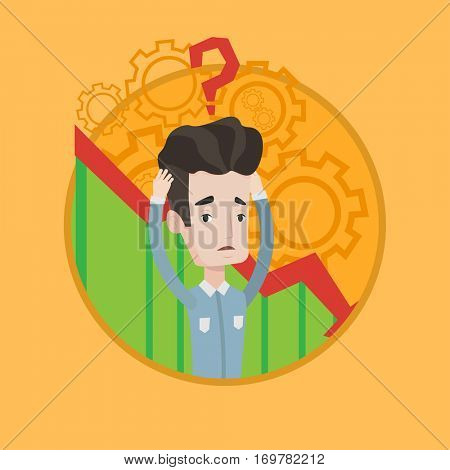 Bankrupt clutching head on background of chart going down. Bankrupt with question mark above head. Concept of business bankruptcy. Vector flat design illustration in the circle isolated on background.