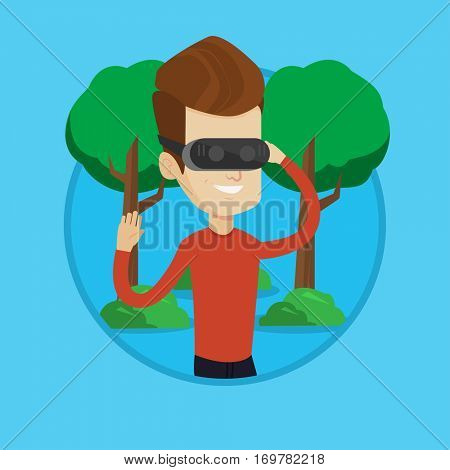 Caucasian gamer wearing virtual reality headset in the park. Man using virtual reality glasses and playing videogame in the park. Vector flat design illustration in the circle isolated on background.