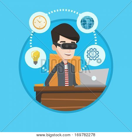 Caucasian businessman wearing virtual reality headset and working on computer. Businessman using virtual reality device in office. Vector flat design illustration in the circle isolated on background.