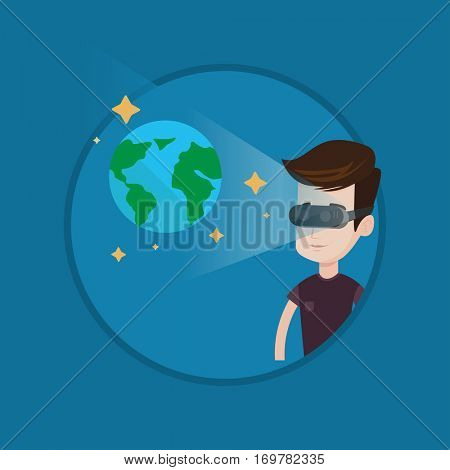 Man wearing virtual reality headset and looking at open space with earth model and stars. Man in vr headset playing videogame. Vector flat design illustration in the circle isolated on background.