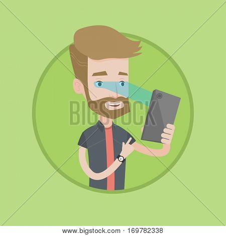 Hipster caucasian man using smart mobile phone with retina scanner. Young happy man using iris scanner to unlock his mobile phone. Vector flat design illustration in the circle isolated on background.