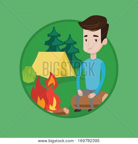 Travelling man sitting on a log near campfire. Young caucasian man sitting near campfire. Smiling tourist relaxing near campfire. Vector flat design illustration in the circle isolated on background.