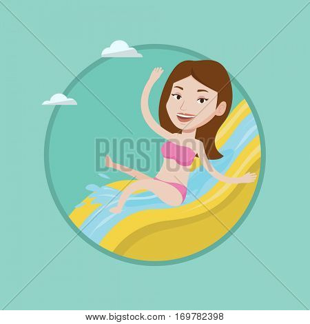 Woman riding down a waterslide at the aquapark. Woman having fun on a water slide in waterpark. Girl going down a water slide. Vector flat design illustration in the circle isolated on background.
