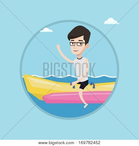 Tourists riding a banana boat and waving hand. Caucasian man having fun on banana boat in sea. Man enjoying his summer vacation. Vector flat design illustration in the circle isolated on background.