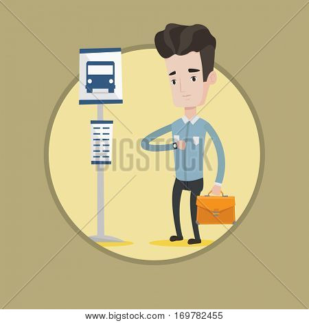 Caucasian businessman waiting for at the bus stop. Businessman standing at the bus stop. Man looking at his watch at the bus stop. Vector flat design illustration in the circle isolated on background.