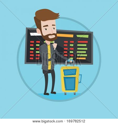 Caucasian hipster man waiting for a flight at the airport. Passenger standing at the airport on the background of departure board. Vector flat design illustration in the circle isolated on background.