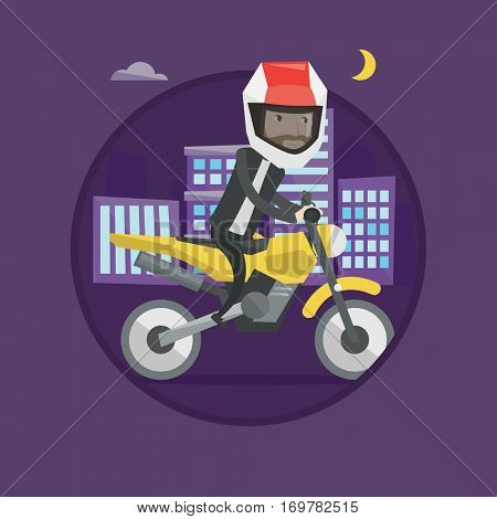 Man in helmet riding a motorcycle on the background of night city. Caucasian hipster man driving a motorcycle on city road at night. Vector flat design illustration in circle isolated on background.