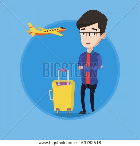 Airplane passenger frightened by future flight. Man suffering from fear of flying. Terrified passenger waiting for a flight. Vector flat design illustration in the circle isolated on background.