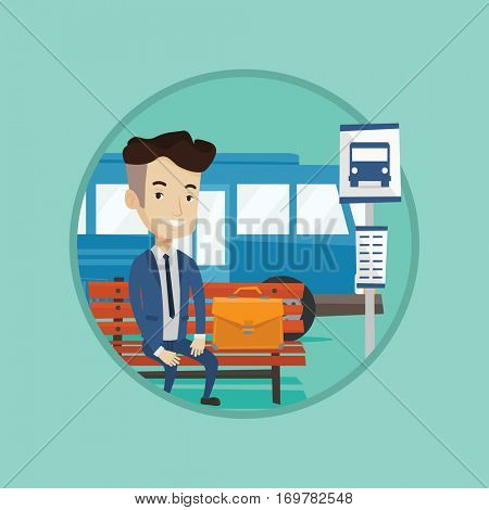 Caucasian businessman waiting at the bus stop. Young businessman sitting at bus stop. Businessman sitting on a bus stop bench. Vector flat design illustration in the circle isolated on background.