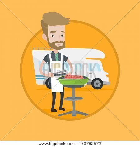Hipster man cooking steak on barbecue on the background of camper van. Man travelling by camper van and having barbecue party. Vector flat design illustration in the circle isolated on background.