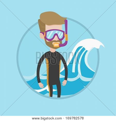 Diver standing in diving suit, flippers, mask and tube. Young caucasian diver enjoying snorkeling. Diver ready for snorkeling. Vector flat design illustration in the circle isolated on background.