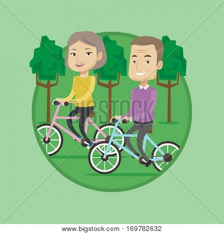 Senior caucasian couple riding on bicycles in the park. Retired couple biking. Active senior couple enjoying walk with bicycles. Vector flat design illustration in the circle isolated on background.