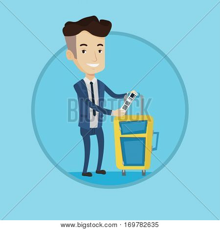 Business class passenger standing near suitcase with priority luggage tag. Smiling caucasian businessman showing luggage tag. Vector flat design illustration in the circle isolated on background.