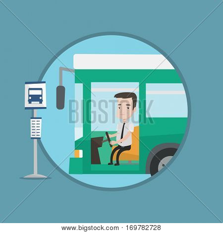 Caucasian bus driver sitting at steering wheel. Bus driver driving passenger motorbus. An adult bus driver in drivers seat in cab. Vector flat design illustration in the circle isolated on background.