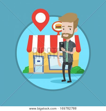 Man holding smartphone with mobile app for looking for restaurant. Young man using smartphone on the background of restaurant. Vector flat design illustration in the circle isolated on background.