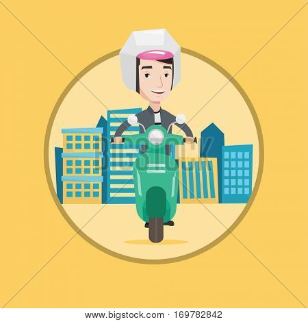 Young caucasian man riding a scooter on city background. Man in helmet driving a scooter in the city street. Man driving a scooter. Vector flat design illustration in the circle isolated on background