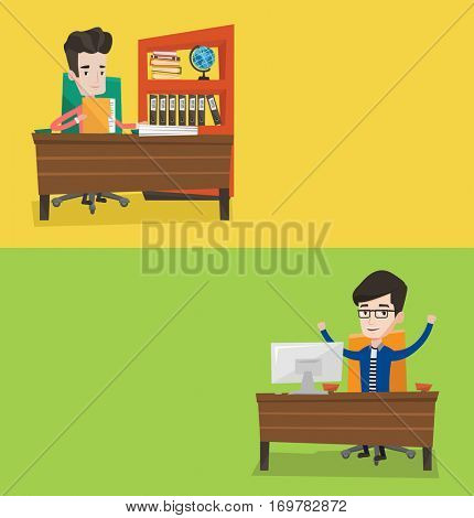 Two business banners with space for text. Vector flat design. Horizontal layout. Office worker working with documents in office. Office worker celebrating with arms up while sitting at workplace.