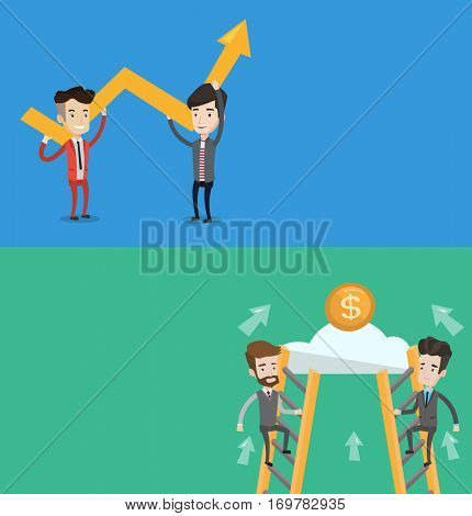 Two business banners with space for text. Vector flat design. Horizontal layout. Businessmen climbing the ladder on cloud to get coin. Businessmen climbing to success. Business competition concept.