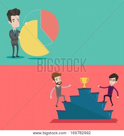 Two business banners with space for text. Vector flat design. Horizontal layout. Businessman taking his share of pie chart. Man getting his share of profit. Businessman dividing in parts pie chart.