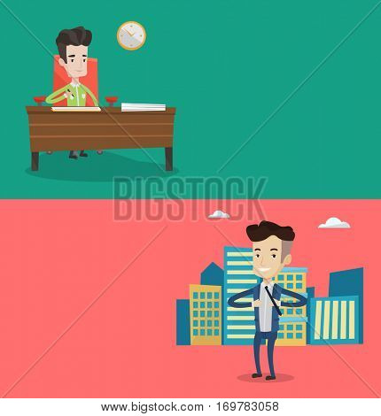 Two business banners with space for text. Vector flat design. Horizontal layout. Businessman signing business documents in office. Businessman is about to sign business contract. Businessman superhero