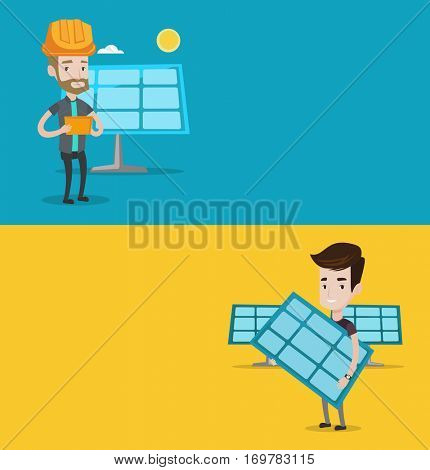 Two ecology banners with space for text. Vector flat design. Horizontal layout. Man working on digital tablet at solar power plant. Man with solar panel standing on the background of solar power plant
