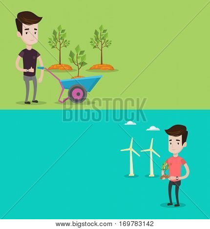 Two ecology banners with space for text. Vector flat design. Horizontal layout. Man pushing wheelbarrow with plant in the park. Man with wheelbarrow standing on a background of newly planted trees.